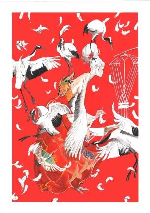 crane lady Gouache